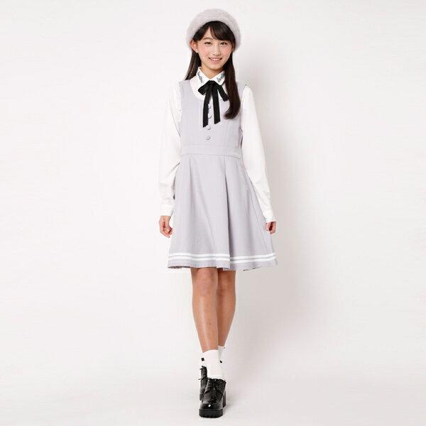 ラブトキシック(Lovetoxic)裾ライン入り無地ジャンパースカート
