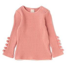 プティマイン(petit main)袖ポンポンリブTシャツ