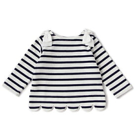 プティマイン(petit main)スカラップボーダーTシャツ