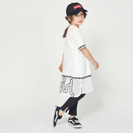 エックスガール ステージス(X-girl Stages)ロゴテープつき裾メッシュ切り替えワンピース