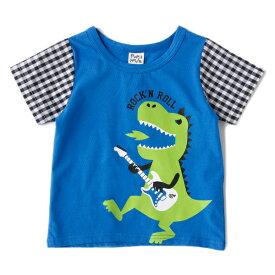 ピューピルハウス(Pupil House)袖チェック恐竜ロックンロールTシャツ