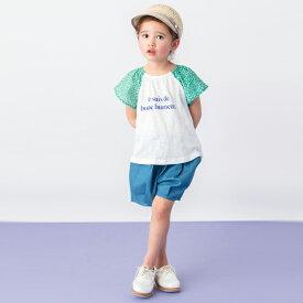 プティマイン(petit main)袖花柄ロゴTシャツ