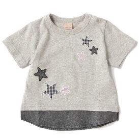 プティマイン(petit main)星アップリケ裾シャツレイヤード風Tシャツ