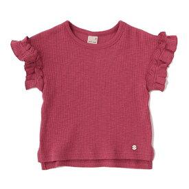 プティマイン(petit main)テレコ袖フリルカジュアルTシャツ