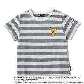 クレードスコープ(kladskap)ポケモン ピカチュウデザイン刺しゅうボーダーTシャツ