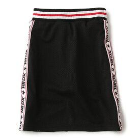 エックスガール ステージス(X-girl Stages)インナーパンツつきサイドロゴメッシュロングスカート