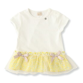 プティマイン(petit main)花柄ペプラムTシャツ