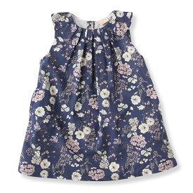 プティマイン(petit main)タック衿花柄ワンピース