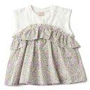プティマイン(petit main)小花柄切り替えチュニックTシャツ