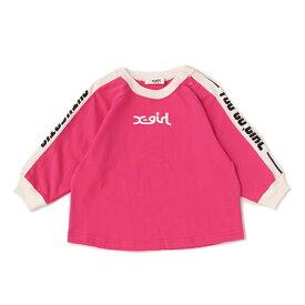 エックスガール ステージス(X-girl Stages)袖ロゴラインリンガーTシャツ