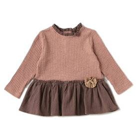 プティマイン(petit main)お花ペプラムテレコTシャツ