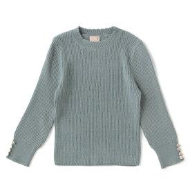 プティマイン(petit main)袖くるみボタンインナーニットTシャツ
