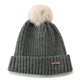 プティマイン(petit main)ラビットファーポンポンニット帽