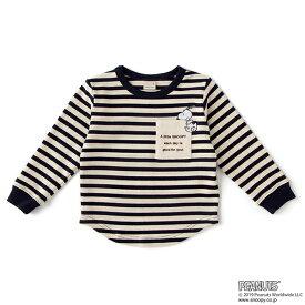 プティマイン(petit main)【PEANUTSコラボ】ボーダーポケットロゴTシャツ