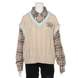 ラブトキシック(Lovetoxic)ニットレイヤード風チェックシャツ