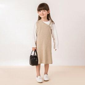 プティマイン(petit main)Tシャツ×ワンショルニットワンピースセット
