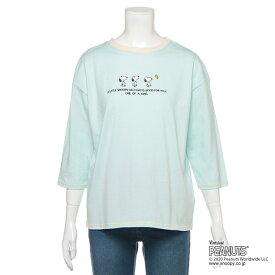 リンジィ(Lindsay)【PEANUTSコラボ】 オーガビッツ スヌーピー刺しゅう7分袖天竺Tシャツ