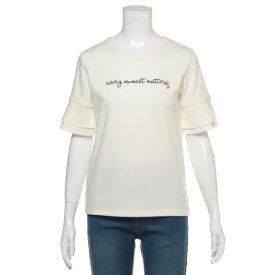 リンジィ(Lindsay)袖フリルチェリーテレコTシャツ