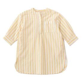 プティマイン(petit main)マルチストライプバンドカラーシャツワンピース
