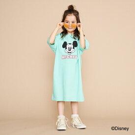 ビールーム(b-ROOM)【DISNEY】 ミッキーマウスデザイン フェイスロゴビッグTシャツワンピース