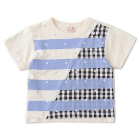 プティマイン(petit main)ボーダー×ドットミックスTシャツ