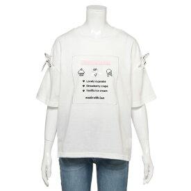 ラブトキシック(Lovetoxic)【メゾピアノジュニアコラボ】 スクエア刺しゅう袖リボンTシャツ