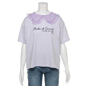 ラブトキシック(Lovetoxic)ドットチュール衿ロゴ刺しゅうTシャツ
