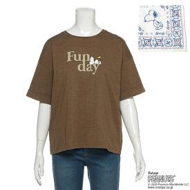 リンジィ(Lindsay)【PEANUTSコラボ】 バンダナつき袖ロールアップロゴTシャツ