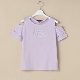 ラブトキシック(Lovetoxic)チョーカー風箔プリント入り肩開きTシャツ