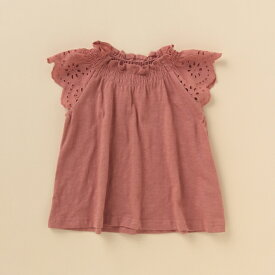 プティマイン(petit main)抗菌防臭 袖レースフリルネックTシャツ