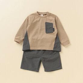 プティマイン(petit main)異素材切り替えTシャツ×パンツセットアップ