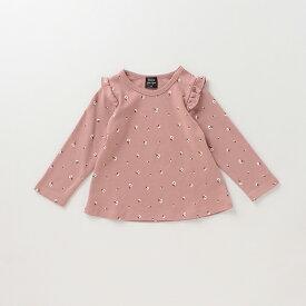 プティマイン(petit main)オーガニックコットン 肩フリル花柄Tシャツ