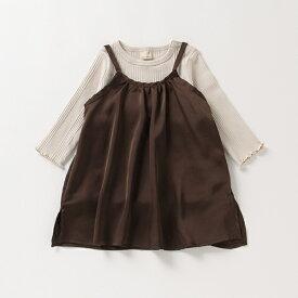 プティマイン(petit main)サテンキャミワンピース×テレコTシャツセット