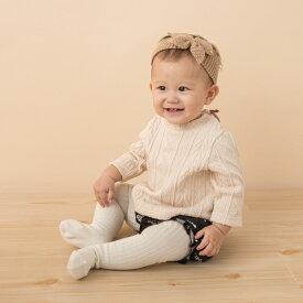 プティマイン(petit main)ケーブルTシャツ×花柄ブルマセット