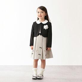 プティマイン(petit main)コサージュつきリボンジャカードワンピース×衿つきジャケットセット