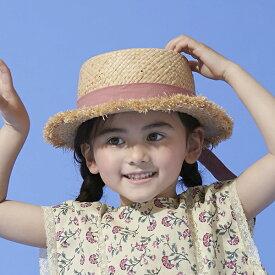 プティマイン(petit main)UVケア リボンつきラフィアカンカン帽