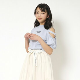 メゾピアノジュニア(mezzo piano junior)ハートバックル肩開きパフ袖Tシャツ
