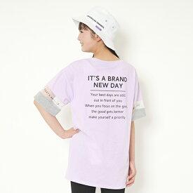 ラブトキシック(Lovetoxic)袖バイカラーチュール切り替えロゴTシャツ