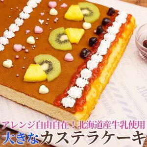 【送料無料】ふんわり カステラケーキ 大容量 650g ギフト 誕生日 大きい パーティ プレゼント ビッグ アレンジ 親子 ケーキ カステラ イラスト 無添加 サプライズ バレンタイン ホワイトデ