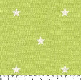 星柄 11ミリ 6936-26 サラダグリーン 緑 グリーン かわいい 10cm単位 やや厚手 生成りオックス生地 綿100% 110cm 布 カルトナージュ 生地 エプロン バッグ ハンドメイド 付属 用途 入園入学 生地 カバー 商用利用可 生地