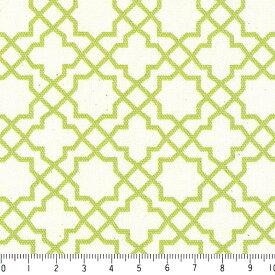 アラベスク ポジ 7556-26 サラダグリーン モロッカン モロッコ ダマスク アラベスク 緑 グリーン かわいい 10cm単位 やや厚手 生成りオックス生地 綿100% 110cm 布 カルトナージュ 生地 商用利用可 生地