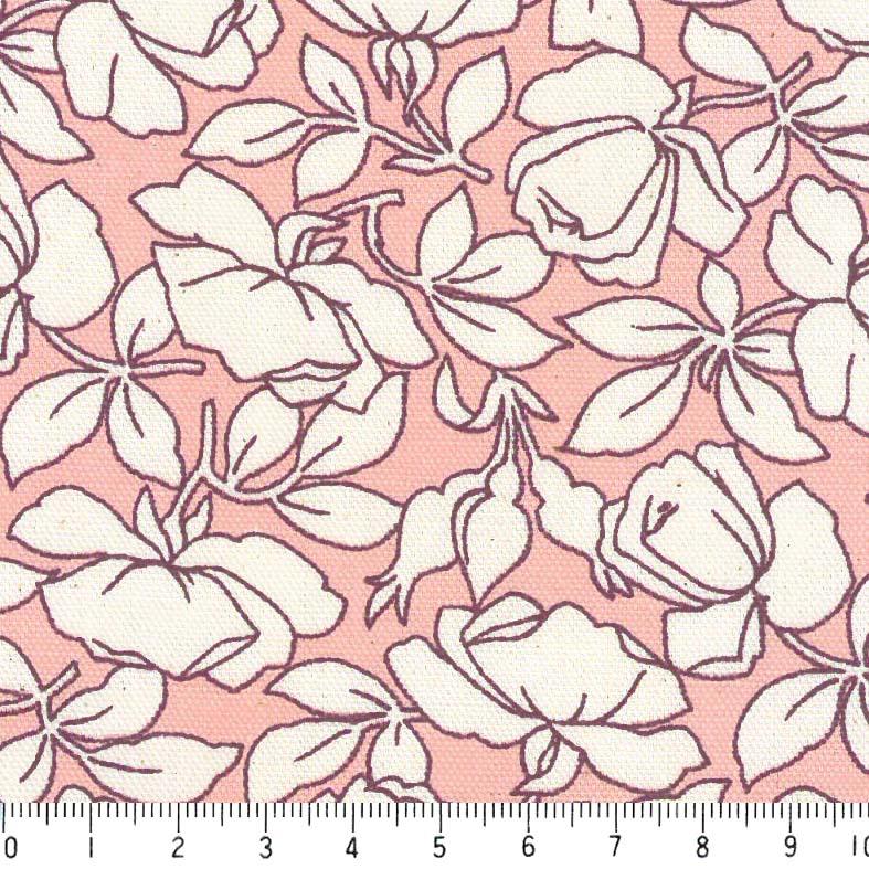 花柄 バラ フランス復刻 5410-27 LIGHT SALMON PINK ライトサーモンピンク fleurir flower フラワー バラ柄 薔薇柄 ローズ ボタニカル 生地 布 生成り オックス 生地 綿100% 110cm幅 カルトナージュ生地 nassen