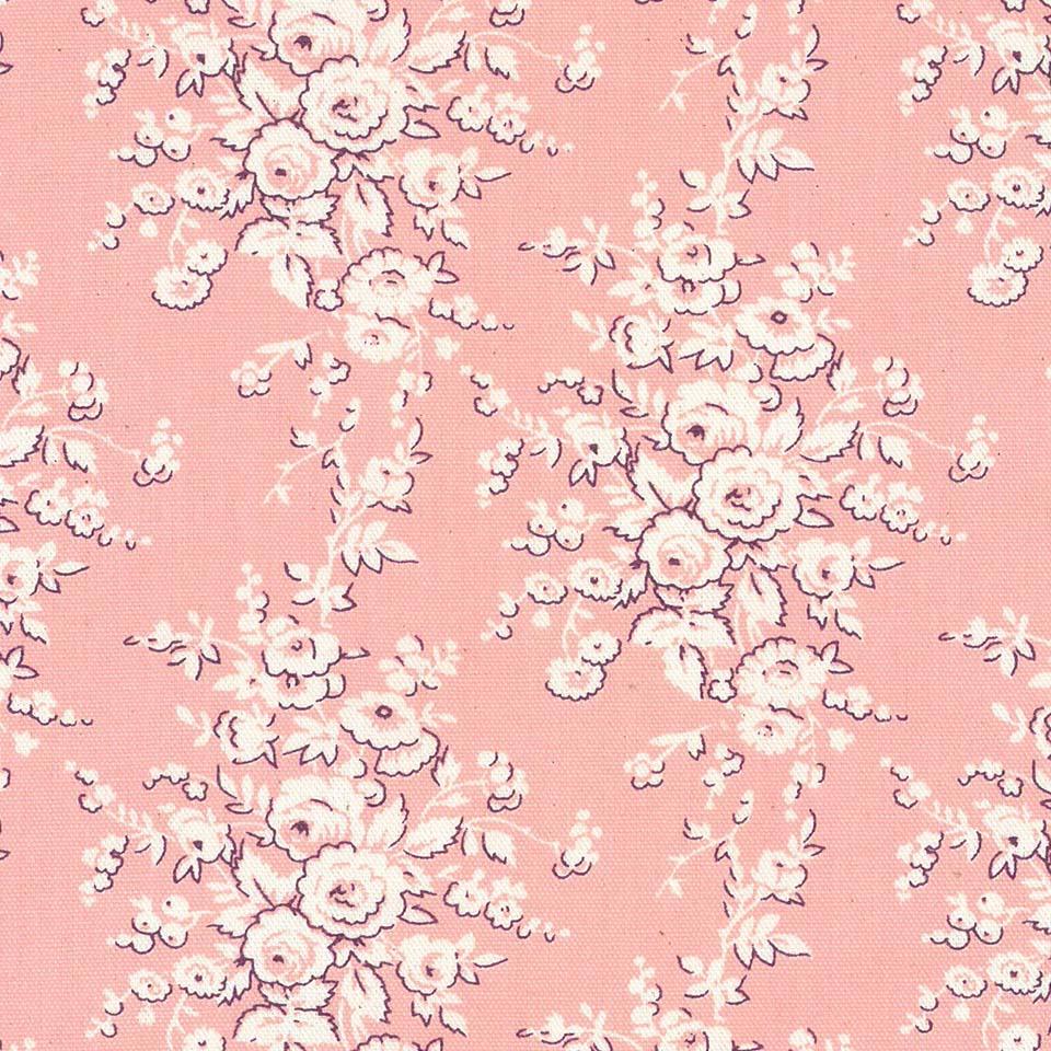 バラ 花柄 フランス復刻 5418-27 LIGHT SALMON PINK ライトサーモンピンク fleurir rose flower フラワー ボタニカル コットン生地 布 ローズ 薔薇柄 生成り オックス 生地 綿100% 110cm幅 カルトナージュ生地 nassen