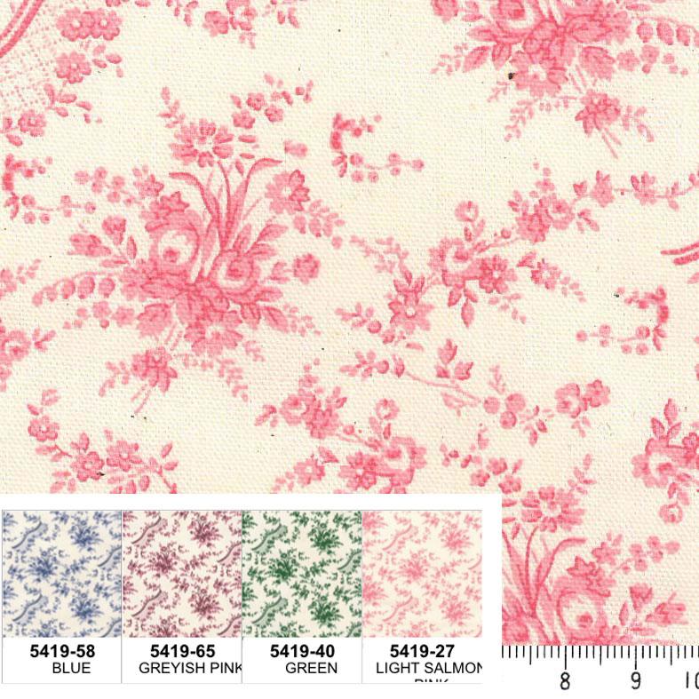 バラ 花柄 フランス復刻 5419-27 LIGHT SALMON PINK ライトサーモンピンク fleurir rose flower フラワー ボタニカル コットン 生地 布 ローズ 薔薇柄 生成り オックス 生地 綿100% 110cm幅 カルトナージュ生地 nassen