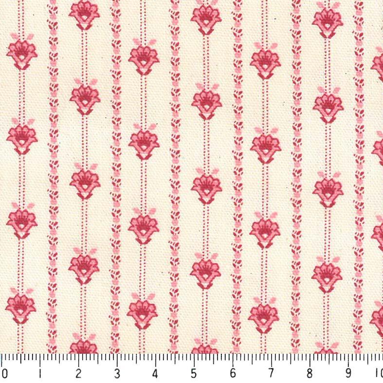 プロバンス 花柄ストライプ 5421-27 LIGHT SALMON PINK ライトサーモンピンク province flower stripe フラワーストライプ ボタニカル プロヴァンス風 ストライプ 生地 布 生成り オックス 生地 綿100% 110cm幅 カルトナージュ生地 nassen
