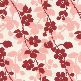 一重のバラのシルエット 5430-27 ライトサーモンピンク 花柄 フランス生地の復刻 一重のバラのシルエット ピンク かわいい 女の子 10cm単位 やや厚手 生成りオックス生地 綿100% 110cm 布 カルトナージュ クロス ポーチ バッグ 手作り小物用 生地 商用利用可 生地