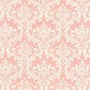 ダマスク柄 生地  6991-27 LIGHT SALMON PINK ライトサーモンピンク damask アラベスク 生地 布 生成り オックス 生地 綿100% 110cm幅 カルトナージュ生地