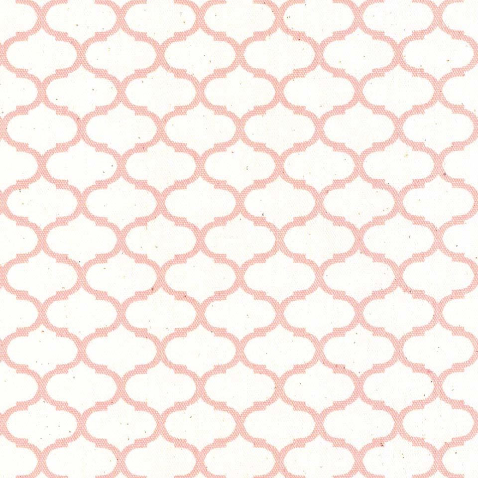 モロッカン柄 小2.8cmポジ 7544-27 LIGHT SALMON PINK ライトサーモンピンク moroccan posi 2.8センチ 生地 布 生成り オックス 生地 綿100% 110cm幅 カルトナージュ生地 nassen