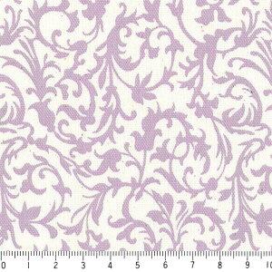 アラベスク ポジ 7239p-30 ラベンダー 紫 パープル バイオレット かわいい ダマスク やや厚手 生成り色 晒し白 オックス生地 シーチング生地 布 綿100% 10cm単位  カルトナージュ デコパージュ