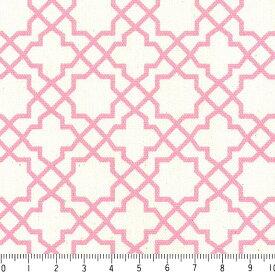 アラベスク ポジ 7556-38 ローズピンク モロッカン モロッコ ダマスク アラベスク ピンク 桜色 かわいい 女の子 10cm単位 やや厚手 生成りオックス生地 綿100% 110cm 布 カルトナージュ 生地 商用利用可 生地